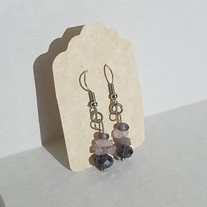 Handmade earrings purple quartz ,Amethyst J5